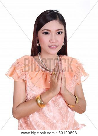 Woman Wearing Typical Thai Dress Pay Respect