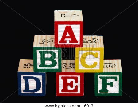 Alphabet Blocks (A-F) On Black