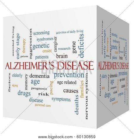 Alzheimer's Disease 3D Cube Word Cloud Concept