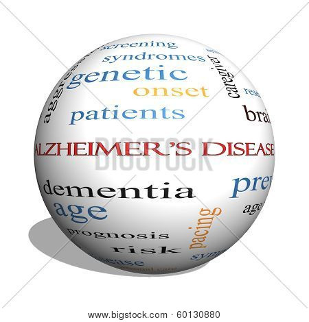 Alzheimer's Disease 3D Sphere Word Cloud Concept