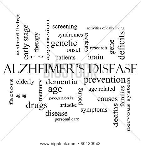 Alzheimer's Disease Word Cloud Concept In Black And White
