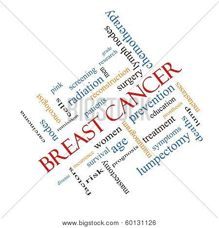 Breast Cancer Word Cloud Concept Angled