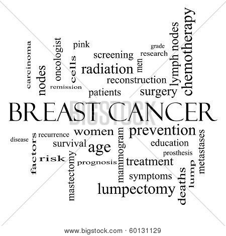 Breast Cancer Word Cloud Concept In Black And White