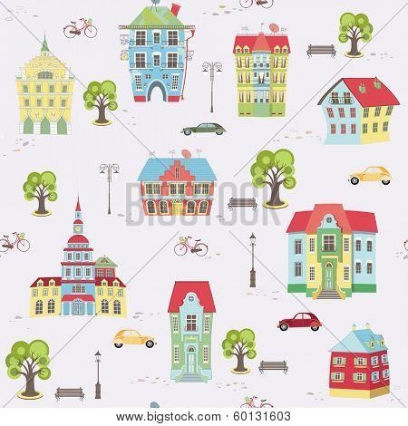 Seamless pattern with city landscape