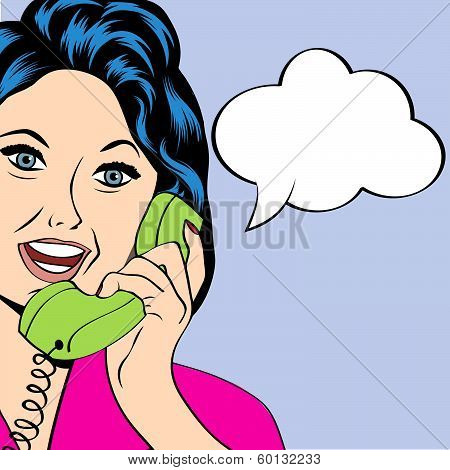 Pop Art Lady Chatting On The Phone
