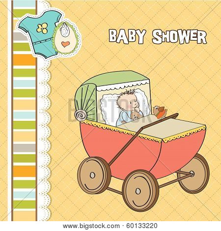 Baby Boy Shower Card With Retro Strolller