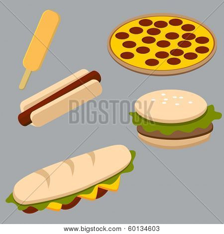 An image of a set of fast food items.