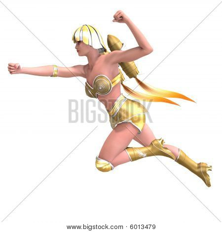 Female Superhero With Green Gold Outfit