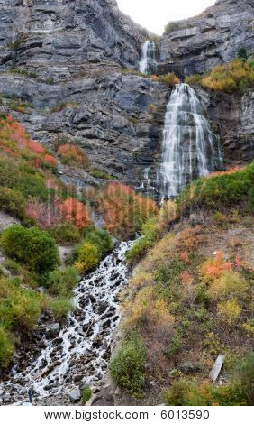 Bridal Veil Falls Utah In Autumn Colors