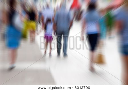 People Rush On Crowded Street