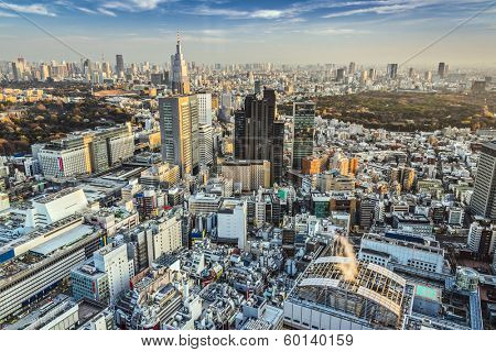 Tokyo, Japan cityscape aerial cityscape view at dusk.