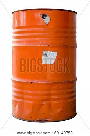 Isolated Industrial Waste Drum