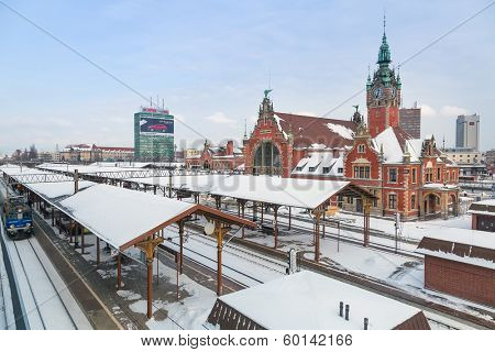 GDANSK, POLAND - 27 JAN 2014: Main railway station in the city center of Gdansk on 27 January 2014. The main railway station of Gdansk is a beautiful historic building built in the end of XIX century.
