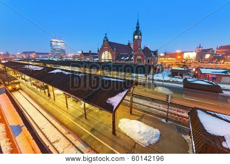GDANSK, POLAND - 4 FEB 2014: Main railway station in the city center of Gdansk on 4 February 2014. The main railway station of Gdansk is a beautiful historic building built in the end of XIX century.