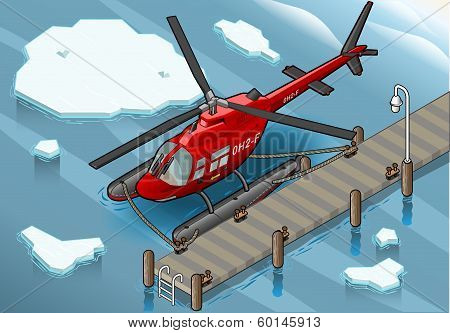 Isometric Arctic Emergency Helicopter At Pier