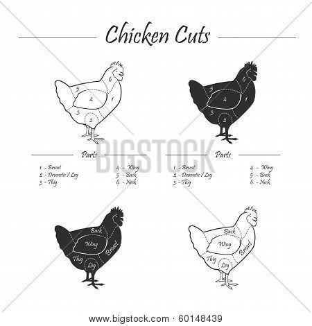 Chicken cut scheme - b&w