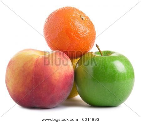 Some Fruits On White
