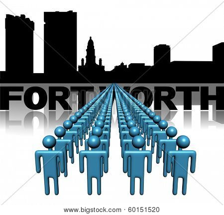 Lines of people with Fort Worth skyline illustration