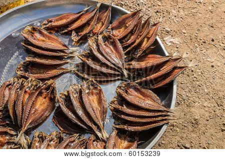 Dried sea fish in market for sale