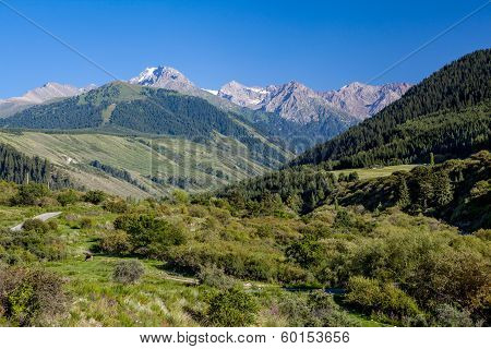 Landscape of high Tien Shan mountains
