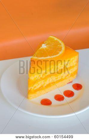 Orange Cake On White Table