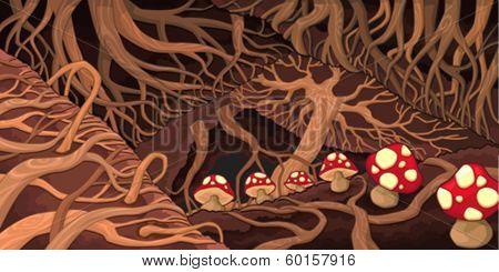 Underground with roots and mushrooms. Cartoon vector illustration.