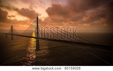 Suspension Bridge On Sunset