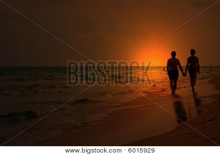 Love Couple At Sunset