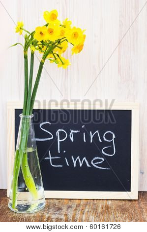 Bouquet Of Yellow Lent Lilly (daffodil) On A Wooden Surface