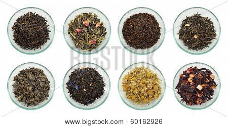 Assortment Of Dried Tea Leaves.