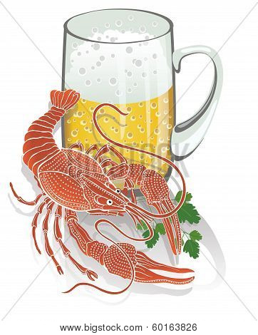 Boiled Cancer With A Mug Of Beer. Illustration
