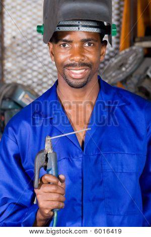 Industrial welder at work