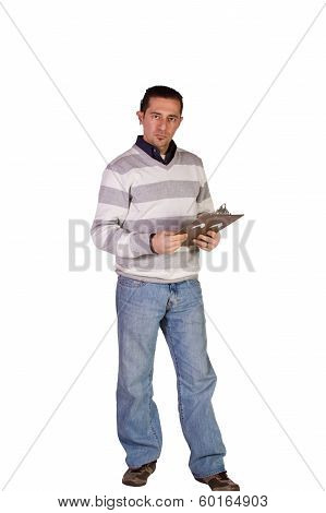 Casual Businessman With A Clipboard