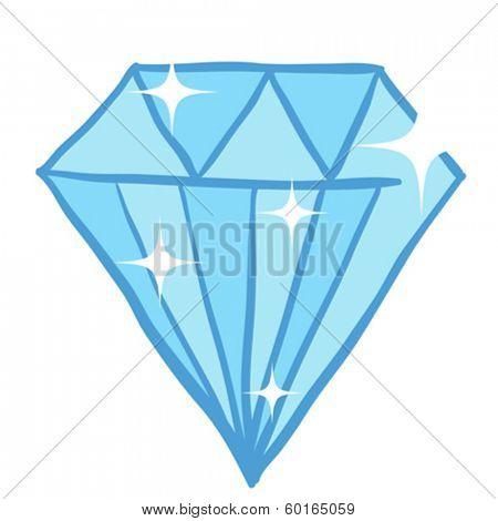 blue diamond doodle cartoon