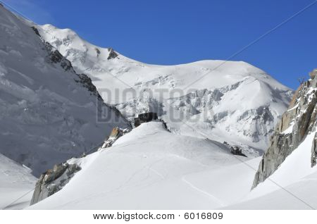 Mountain Hut On Glacier
