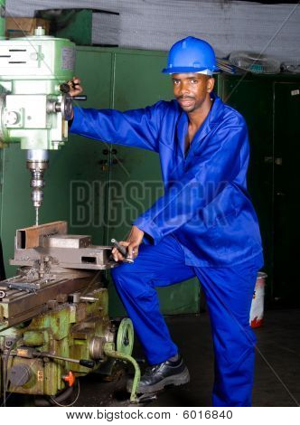 Factory mechanic at work