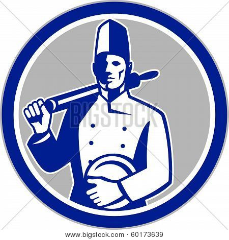 Chef Cook Holding Rolling Pin