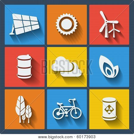 Set of 9 ecology vector web and mobile icons
