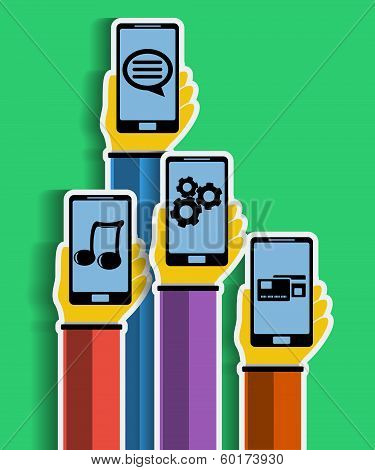 Hands with smartphones. Mobile apps concept. Vector.
