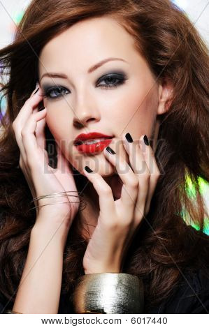 Beautiful Woman's Face With Fashion Make-up