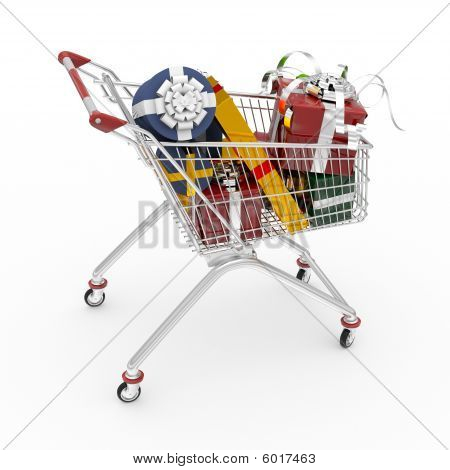 Shopping Cart Filled By Gift