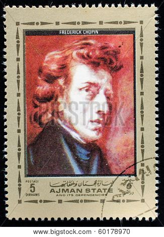 AJMAN - CIRCA 1972: A stamp printed in Ajman shows portrait of the great musician and composer Frederic Chopin, circa 1972