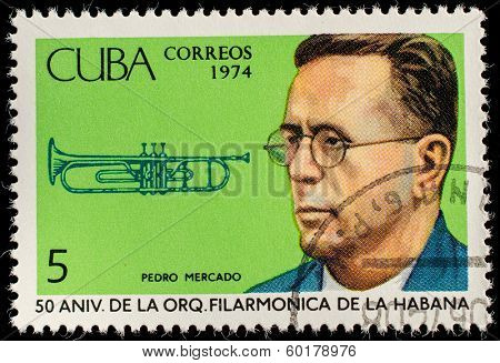 CUBA - CIRCA 1974: A stamp printed in the Cuba, shows the portrait of a musician - Pedro Mercado, circa 1974