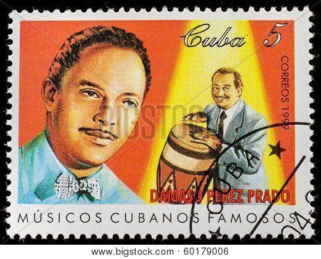 CUBA - CIRCA 1999: A stamp printed in cuba dedicated to famous Cuban musicians, shows Damaso Perez Prado, circa 1999