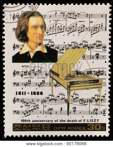 NORTH KOREA - CIRCA 1987: A stamp printed in North Korea shows Franz Liszt (1811-1886), series Famous Composers, circa 1987