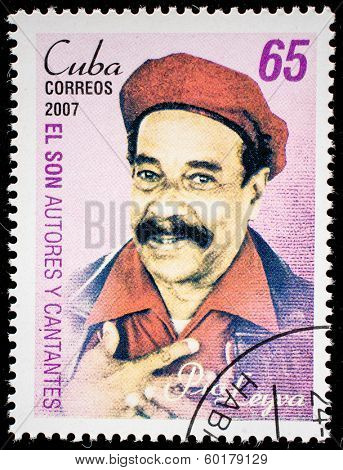 CUBA - CIRCA 2007: A stamp printed in cuba dedicated to authors and singers of Cuban son, shows Pio Leyva, circa 2007