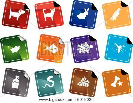 Pet Store Sticker Icon Set