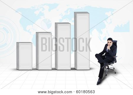 Businessman With Chart On World Map Background