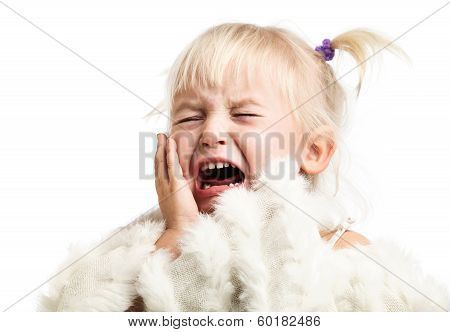 Little girl screaming over white