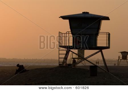 Silhouette Of Lifeguard Post